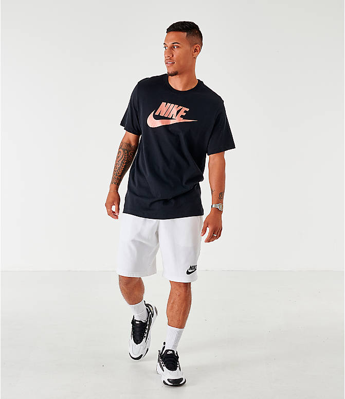 Front Three Quarter view of Men's Nike Sportswear Metallic Futura T-Shirt in Black
