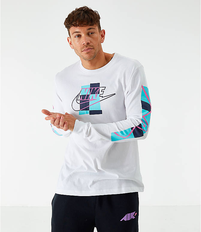Front view of Men's Nike Sportswear Expressive Brand Long-Sleeve T-Shirt in White