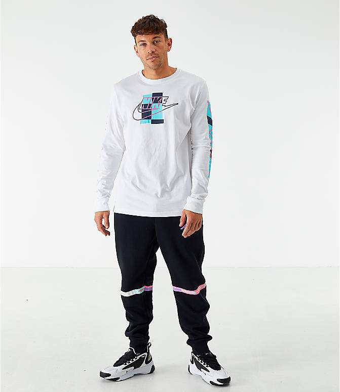 Front Three Quarter view of Men's Nike Sportswear Expressive Brand Long-Sleeve T-Shirt in White