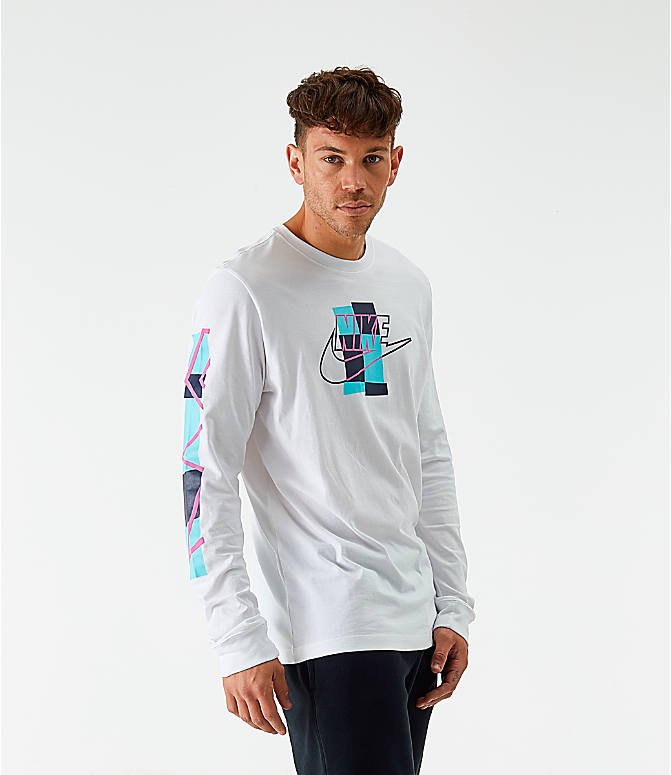 Back Left view of Men's Nike Sportswear Expressive Brand Long-Sleeve T-Shirt in White
