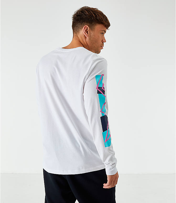 Back Right view of Men's Nike Sportswear Expressive Brand Long-Sleeve T-Shirt in White