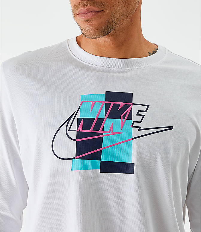 On Model 5 view of Men's Nike Sportswear Expressive Brand Long-Sleeve T-Shirt in White