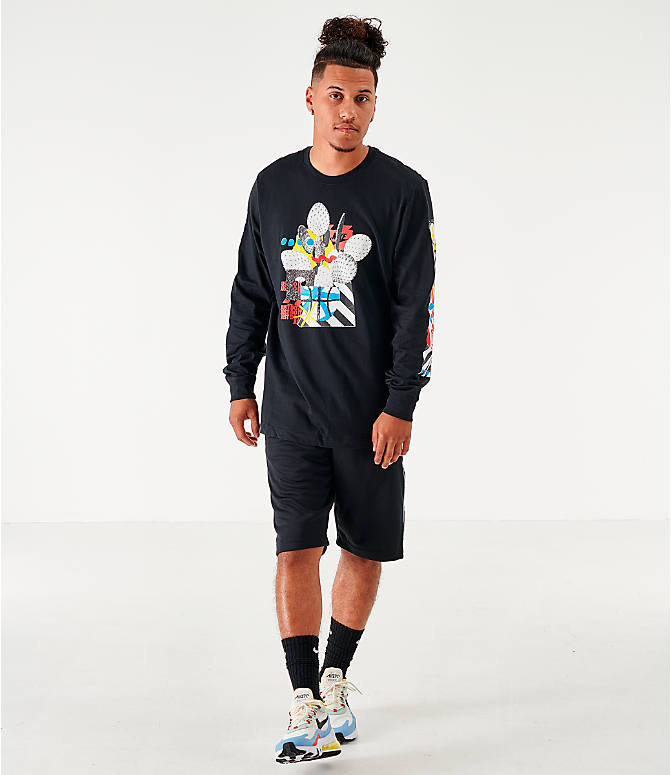 Front Three Quarter view of Men's Nike Sportswear High Summer Long-Sleeve T-Shirt in Black