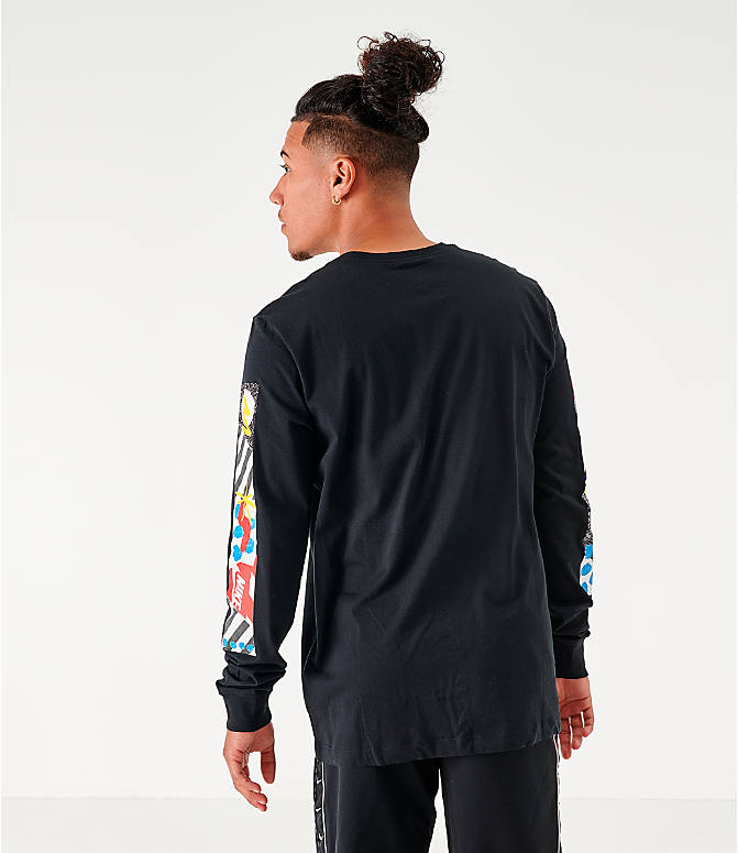 Back Right view of Men's Nike Sportswear High Summer Long-Sleeve T-Shirt in Black
