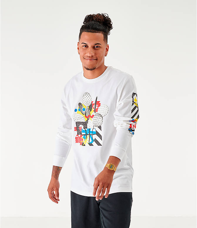 Front view of Men's Nike Sportswear High Summer Long-Sleeve T-Shirt in White