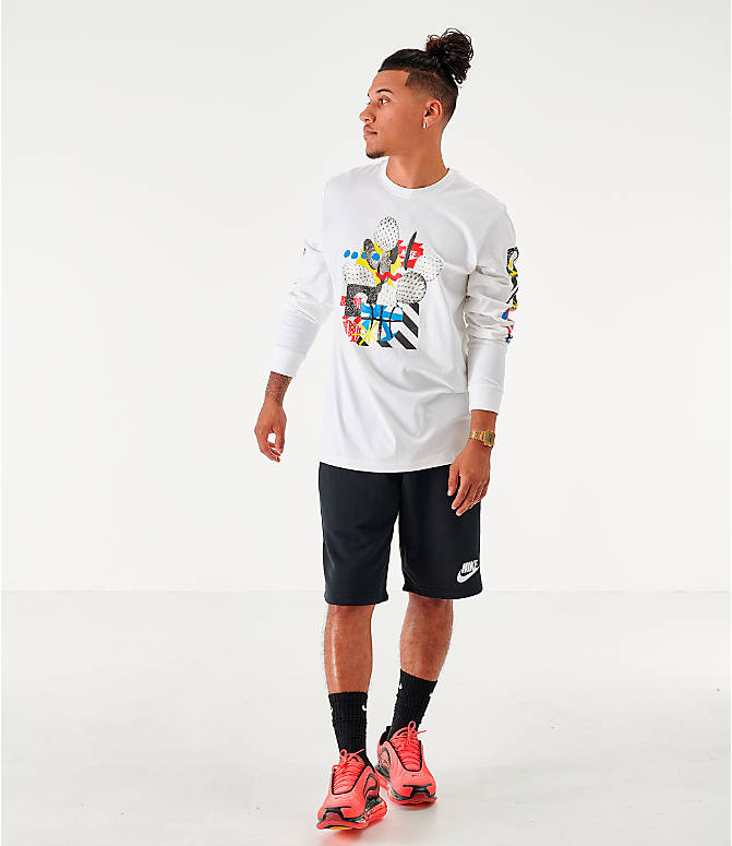 Front Three Quarter view of Men's Nike Sportswear High Summer Long-Sleeve T-Shirt in White