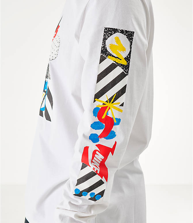 Back Right view of Men's Nike Sportswear High Summer Long-Sleeve T-Shirt in White