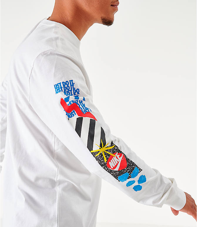 On Model 5 view of Men's Nike Sportswear High Summer Long-Sleeve T-Shirt in White