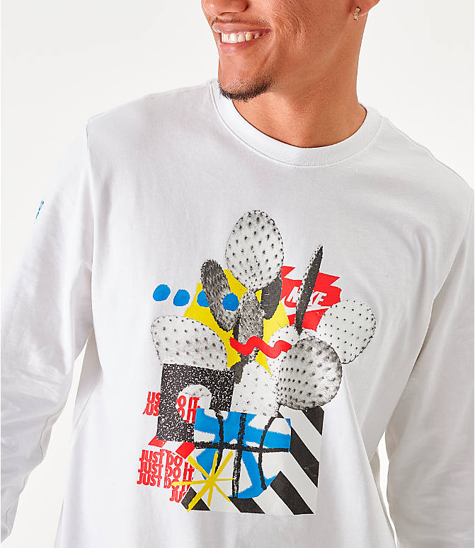 On Model 6 view of Men's Nike Sportswear High Summer Long-Sleeve T-Shirt in White