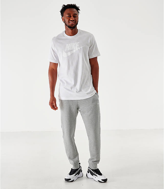 Front Three Quarter view of Men's Nike Sportswear Checkered T-Shirt in White