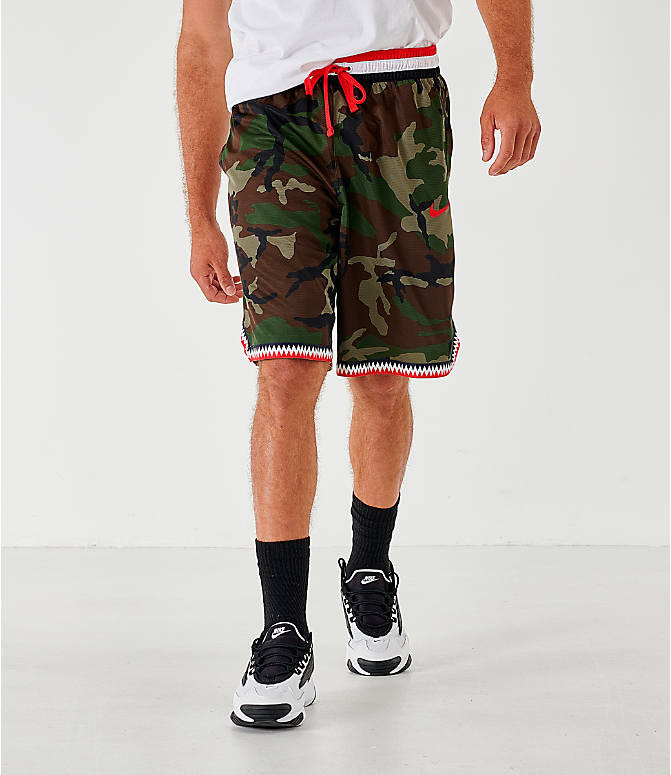 Front view of Men's Nike Dri-FIT DNA Camo Basketball Shorts in Medium Olive