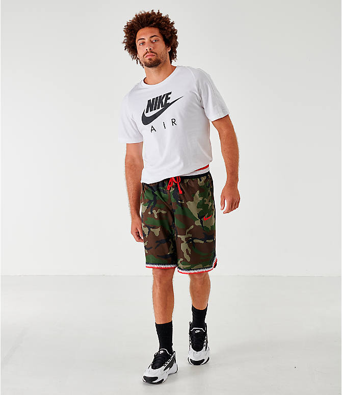 Front Three Quarter view of Men's Nike Dri-FIT DNA Camo Basketball Shorts in Medium Olive