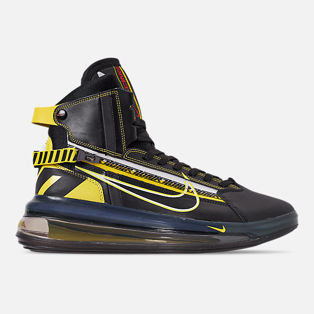 Right view of Men's Nike Air Max 720 Satrn All-Star Basketball Shoes in Black/Dynamic Yellow/University Red