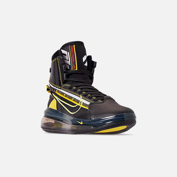 Three Quarter view of Men's Nike Air Max 720 Satrn All-Star Basketball Shoes in Black/Dynamic Yellow/University Red