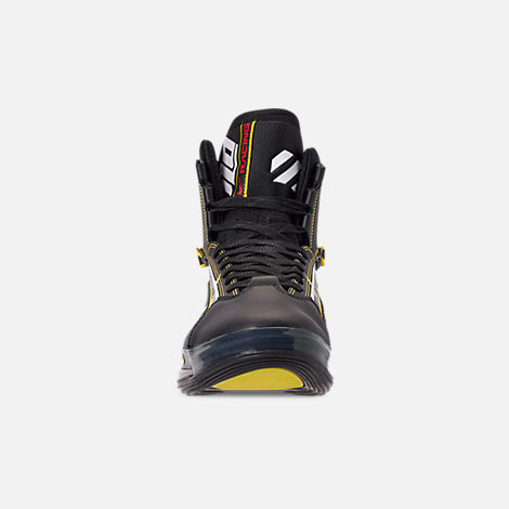 Front view of Men's Nike Air Max 720 Satrn All-Star Basketball Shoes in Black/Dynamic Yellow/University Red