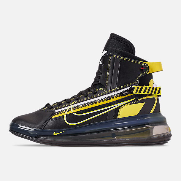 Left view of Men's Nike Air Max 720 Satrn All-Star Basketball Shoes in Black/Dynamic Yellow/University Red