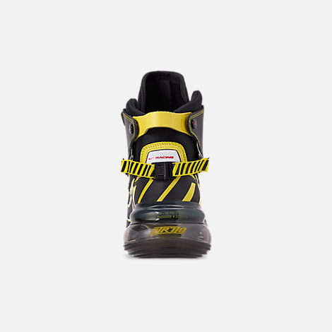 Back view of Men's Nike Air Max 720 Satrn All-Star Basketball Shoes in Black/Dynamic Yellow/University Red