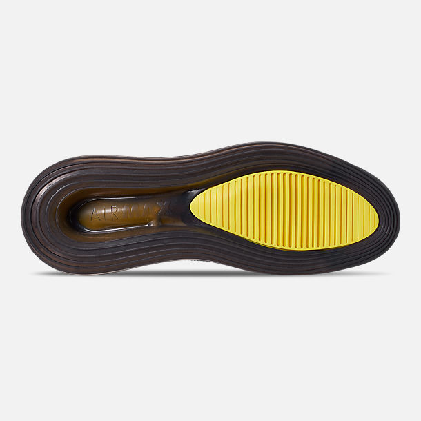 Bottom view of Men's Nike Air Max 720 Satrn All-Star Basketball Shoes in Black/Dynamic Yellow/University Red