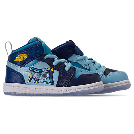 Nike Boys Toddler Air Jordan 1 Mid Fly Casual Shoes, Blue
