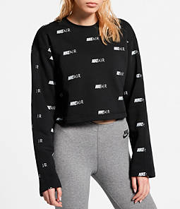 Women's Nike Air Allover Print Fleece Crop Crewneck Sweatshirt