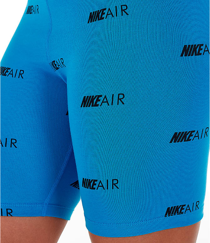 Detail 1 view of Women's Nike Air Allover Print Bike Shorts in Light Photo Blue/White