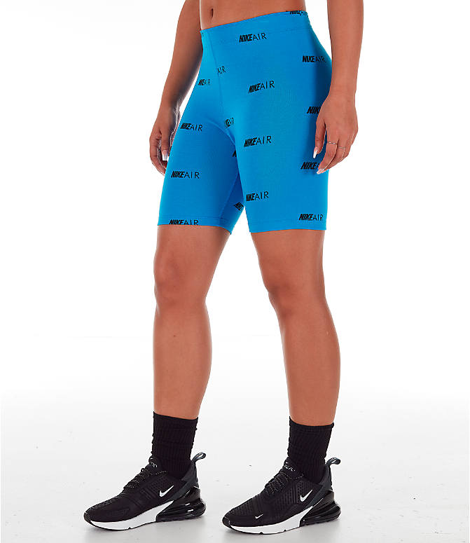 Front Three Quarter view of Women's Nike Air Allover Print Bike Shorts in Light Photo Blue/White