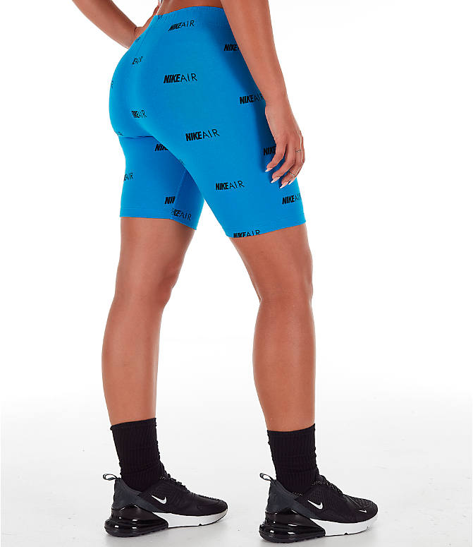 Back Right view of Women's Nike Air Allover Print Bike Shorts in Light Photo Blue/White