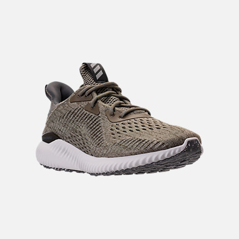 Three Quarter view of Women's adidas AlphaBounce EM Running Shoes in Trace Olive/Trace Cargo/Grey
