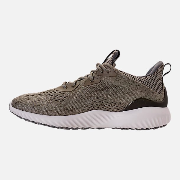 Left view of Women's adidas AlphaBounce EM Running Shoes in Trace Olive/Trace Cargo/Grey