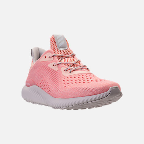 Three Quarter view of Women's adidas AlphaBounce EM Running Shoes in Icey Pink/Trace Pink/Grey