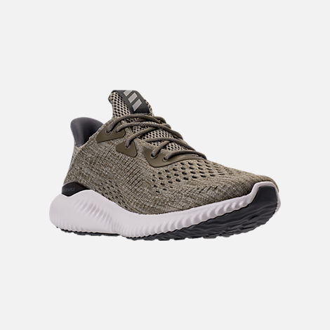 Three Quarter view of Men's adidas AlphaBounce EM Running Shoes in Trace Olive/Trace Cargo/Grey