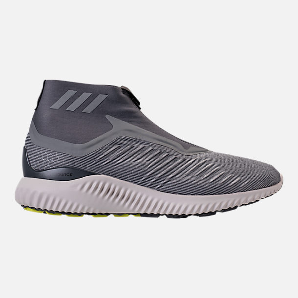 Right view of Men's adidas AlphaBounce 5.8 Zip Running Shoes in Grey/White