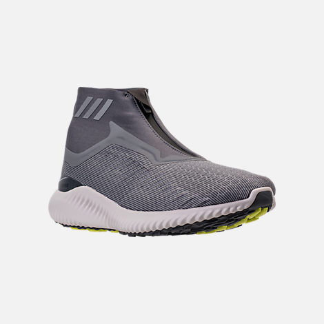 Three Quarter view of Men's adidas AlphaBounce 5.8 Zip Running Shoes in Grey/White
