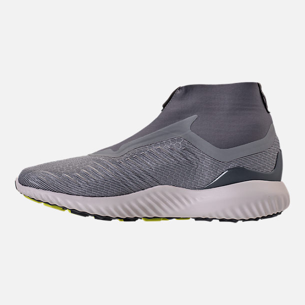 Left view of Men's adidas AlphaBounce 5.8 Zip Running Shoes in Grey/White