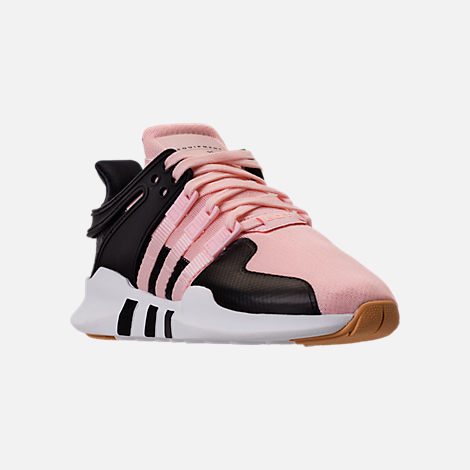 Three Quarter view of Girls' Grade School adidas EQT Support ADV Casual Shoes in Icey Pink/White Snake
