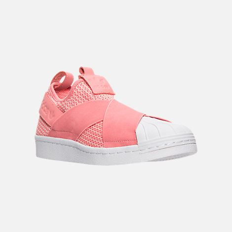 Three Quarter view of Women's adidas Originals Superstar Slip-On Casual Shoes in Tactile Rose/Tactile Rose