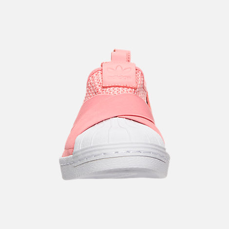Front view of Women's adidas Originals Superstar Slip-On Casual Shoes in Tactile Rose/Tactile Rose