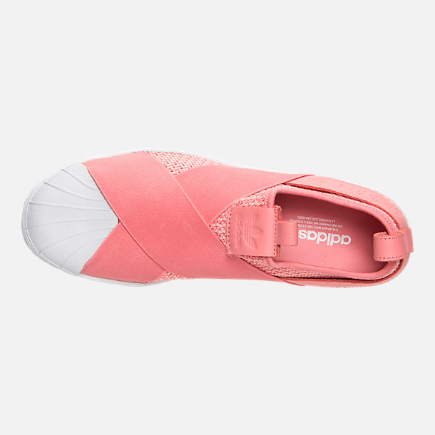 Top view of Women's adidas Originals Superstar Slip-On Casual Shoes in Tactile Rose/Tactile Rose