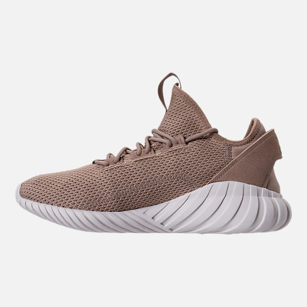 Left view of Men's adidas Tubular Doom Sock Primeknit Casual Shoes in Sesame/Clear Brown/Crystal White