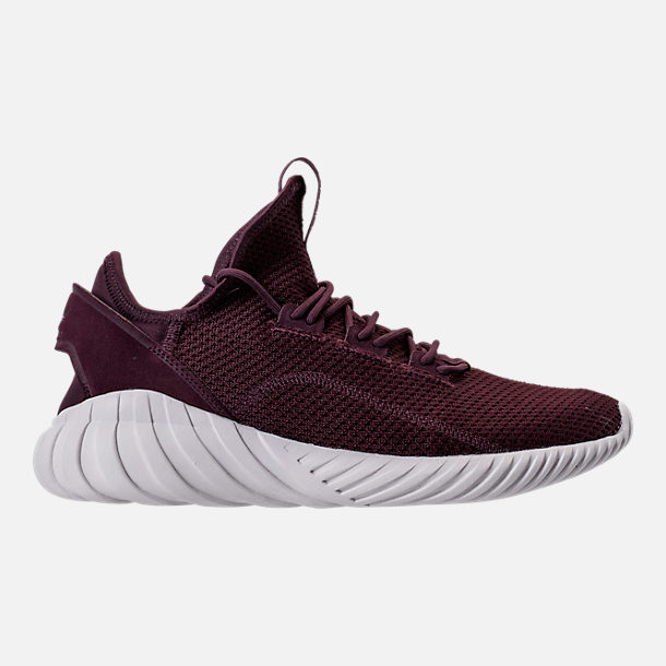 Right view of Men's adidas Tubular Doom Sock Primeknit Casual Shoes in Dark Burgundy/Crystal White