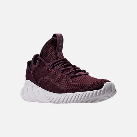 Three Quarter view of Men's adidas Tubular Doom Sock Primeknit Casual Shoes in Dark Burgundy/Crystal White
