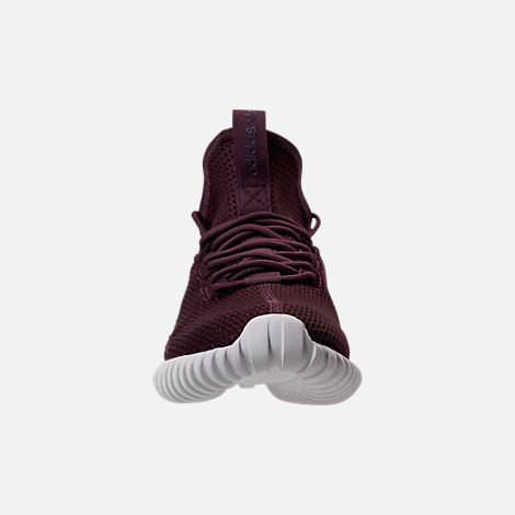 Front view of Men's adidas Tubular Doom Sock Primeknit Casual Shoes in Dark Burgundy/Crystal White