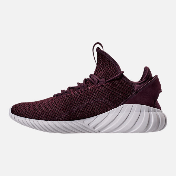 Left view of Men's adidas Tubular Doom Sock Primeknit Casual Shoes in Dark Burgundy/Crystal White