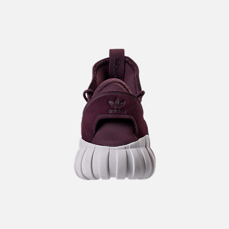 Back view of Men's adidas Tubular Doom Sock Primeknit Casual Shoes in Dark Burgundy/Crystal White