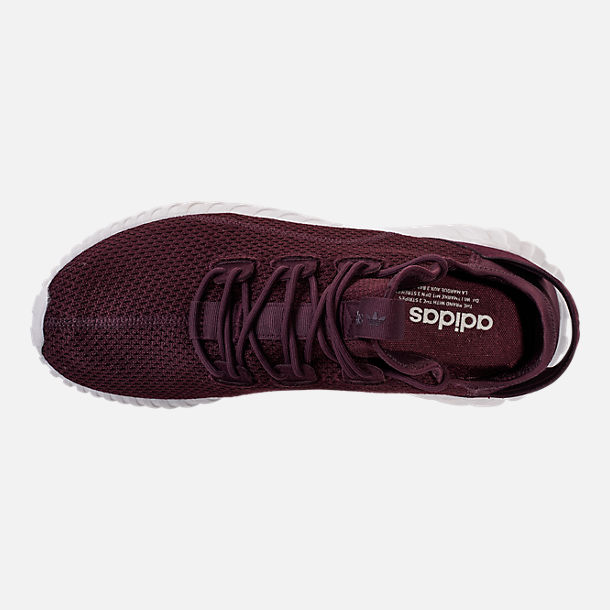 Top view of Men's adidas Tubular Doom Sock Primeknit Casual Shoes in Dark Burgundy/Crystal White