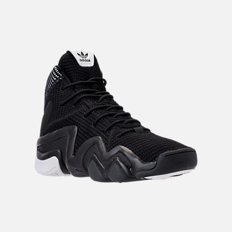 Three Quarter view of Men's adidas Crazy 8 ADV Primeknit Basketball Shoes in Black/Black/White