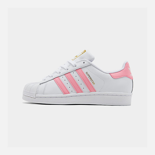 Right view of Girls' Little Kids' adidas Superstar Casual Shoes in White/Pink