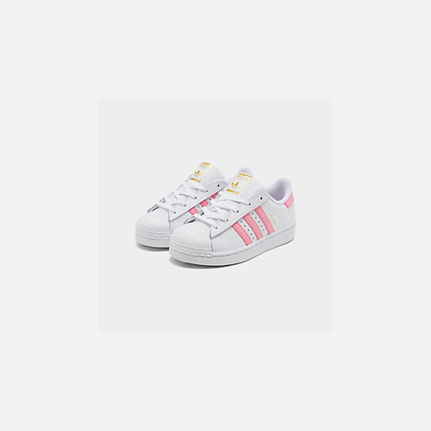 Three Quarter view of Girls' Little Kids' adidas Superstar Casual Shoes in White/Pink