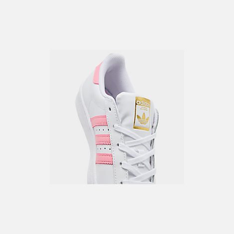 Front view of Girls' Little Kids' adidas Superstar Casual Shoes in White/Pink