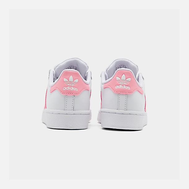Left view of Girls' Little Kids' adidas Superstar Casual Shoes in White/Pink